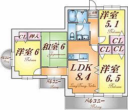 兵庫県神戸市北区西大池1丁目の賃貸マンションの間取り