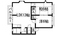 ラスター仁川[2階]の間取り
