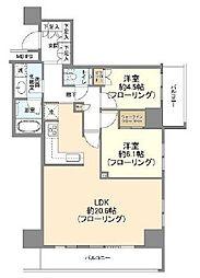 ザ・パークハウス新宿タワー 14階2LDKの間取り