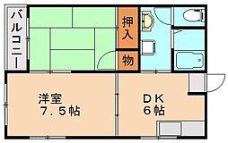 松本第2コーポ[1階]の間取り