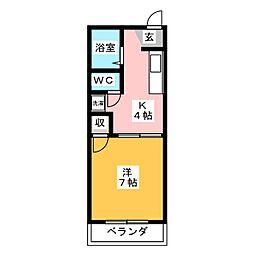 ハイツ弥生ヶ岡[2階]の間取り