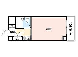 阪急千里線 南千里駅 徒歩9分の賃貸マンション 1階1Kの間取り