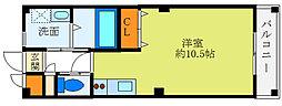 阪急千里線 北千里駅 バス10分 小野原東5丁目下車 徒歩4分の賃貸マンション 2階ワンルームの間取り