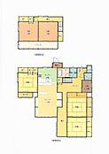リフォーム前の間取り図面です。LDKが20帖有ってゆとりのある5LDKの住宅です。