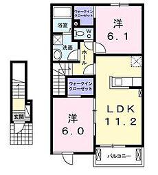 宮崎県宮崎市大字小松の賃貸アパートの間取り