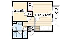 愛知県尾張旭市平子町東の賃貸アパートの間取り