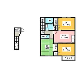 ベルフラワーIII[2階]の間取り