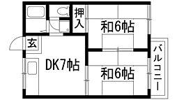兵庫県川西市鼓が滝2丁目の賃貸アパートの間取り
