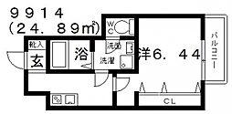 Fstyle田井城1号館(エフスタイル田井城1号館) 2階1Kの間取り