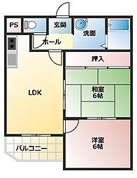 兵庫県明石市大久保町わかばの賃貸マンションの間取り