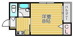 京阪本線 土居駅 徒歩7分の賃貸マンション 3階1Kの間取り