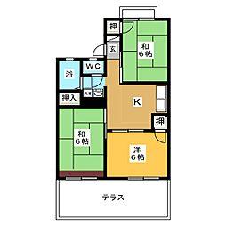 愛知県名古屋市名東区勢子坊4の賃貸アパートの間取り