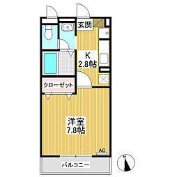 パルフェ三輪A棟[2階]の間取り