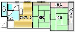 大阪府吹田市岸部中1丁目の賃貸マンションの間取り