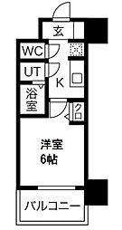 プレサンス南堀江 2階1Kの間取り