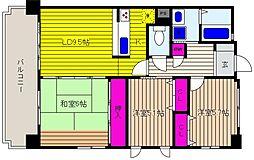 兵庫県神戸市東灘区御影中町5丁目の賃貸マンションの間取り