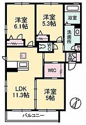 シャーメゾン ウベルタ B棟[1階]の間取り