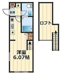 神奈川県横浜市保土ケ谷区峰沢町の賃貸アパートの間取り