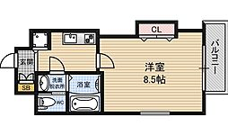 Luxe江坂2 11階1Kの間取り