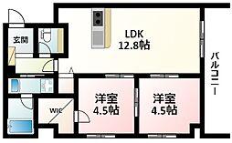 Osaka Metro御堂筋線 江坂駅 徒歩17分の賃貸マンション 3階2LDKの間取り