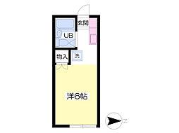 阿武隈急行 福島学院前駅 徒歩22分の賃貸アパート 1階ワンルームの間取り
