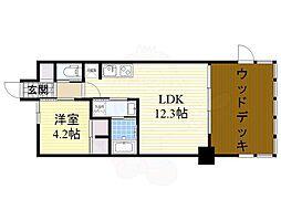 阪急千里線 北千里駅 徒歩15分の賃貸マンション 1階1LDKの間取り
