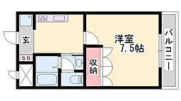 グランディール姫路 1階1Kの間取り