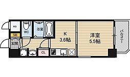 レジュールアッシュ梅田レジデンス 4階1Kの間取り