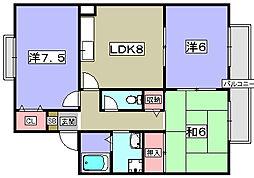 京都府八幡市橋本意足の賃貸アパートの間取り