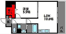 ヴィンテージ箱崎東[5階]の間取り
