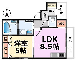 アスピラシオンJR尼崎フロント[302号室号室]の間取り
