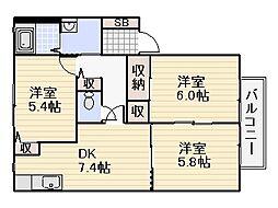 プリマベラ石田[A103号室]の間取り