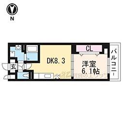 近鉄京都線 上鳥羽口駅 徒歩16分の賃貸マンション 1階1DKの間取り
