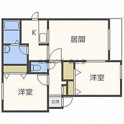 北海道札幌市北区篠路一条7丁目の賃貸アパートの間取り