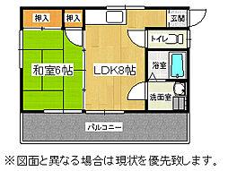 福岡県中間市朝霧3丁目の賃貸アパートの間取り