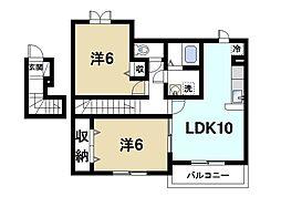 奈良県天理市石上町の賃貸アパートの間取り