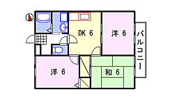 ルミエール飾磨II[B205号室]の間取り