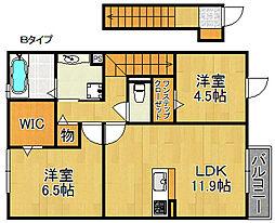 クレアA棟[2階]の間取り