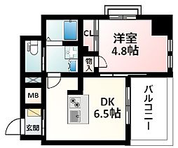 Osaka Metro御堂筋線 江坂駅 徒歩16分の賃貸マンション 4階1DKの間取り