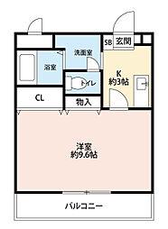 福岡県北九州市八幡西区御開2丁目の賃貸アパートの間取り