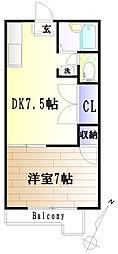 ハイツカジヤマ[102号室]の間取り