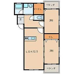 プレステージ大平[2階]の間取り