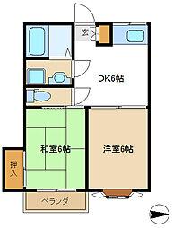 東京都調布市深大寺東町6丁目の賃貸アパートの間取り