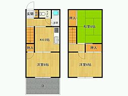 [タウンハウス] 兵庫県尼崎市富松町3丁目 の賃貸【/】の間取り