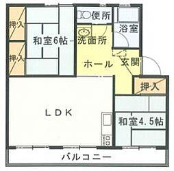長丘リーゼントコーポレーションC棟[4階]の間取り