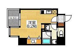 Osaka Metro谷町線 天満橋駅 徒歩6分の賃貸マンション 7階ワンルームの間取り