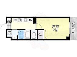 阪急京都本線 正雀駅 徒歩3分の賃貸マンション 8階1Kの間取り