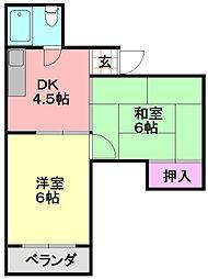 平野西コスモハイツ[203号室]の間取り