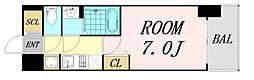 ファステート難波グランプリ 15階1Kの間取り