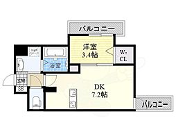 JR東海道・山陽本線 東淀川駅 徒歩1分の賃貸マンション 9階1DKの間取り